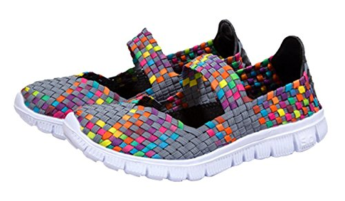 Grey Shoes Walking Sale (CAMSSOO Women's Woven Stretch Mesh Loafers Fashion Sneakers Breathable Slip-on Walking Shoes Grey Size US5 EU36)