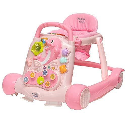 ib style® LITTLE DOLPHIN   Loopstoel   Loopwagentje   met licht en geluid   EN 1273:2005   Pink
