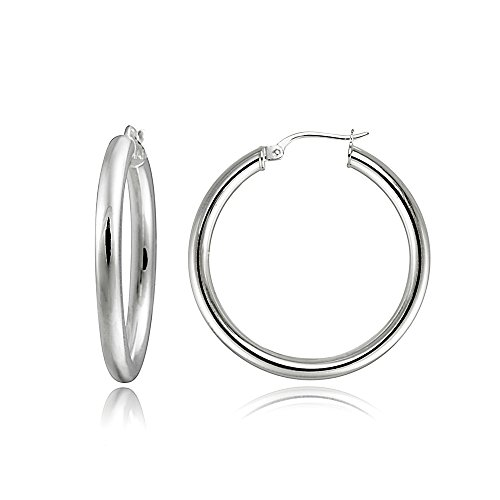 Hoops & Loops Sterling Silver 3mm High Polished Round Hoop Earrings, 30mm Amazing 925 Sterling Silver Earring