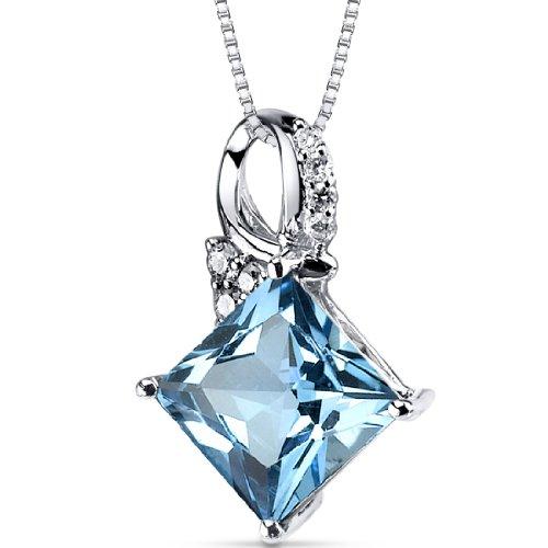 Swiss Blue Topaz Diamond Pendant 14Kt White Gold Princess Cut 4 Carats