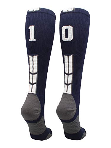 MadSportsStuff Navy/White Player Id Over The Calf Number Socks (#10, Small)