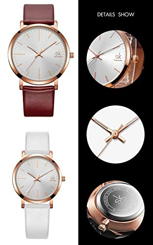 SK SHENGKE Couple Watches Anniversary Gifts for Lover Set of 2 Pairs Sweet Gifts for Valentines. (K8039-Brown-White) by SK SHENGKE (Image #3)