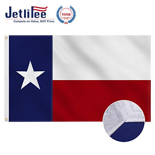 Jetlifee Texas State Flag - 3 x 5 Ft by U.S. Veterans Owned Biz. Embroidered and Sewn Flags Decorative UV Protected Flags with 2 Grommets - Long Lasting Nylon for Indoor and Outdoor 3x5 Foot