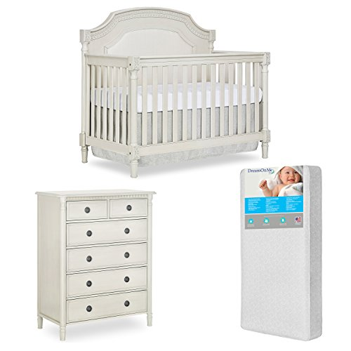 Evolur Julienne 5 in 1 Convertible Crib and 6 Dressers Chest with Free 260 Coil Crib/Toddler - Drawer Dresser Six Hampton