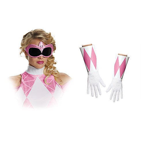 Disguise Women's Pink Ranger Adult Costume Accessory Kit, Pink, One Size]()