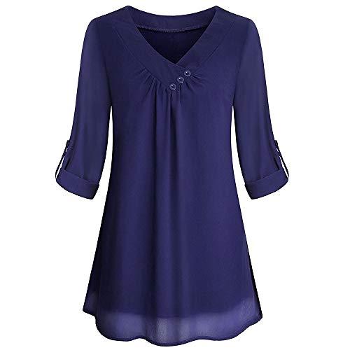 Haut Fonc Bleu Blouses Couches Longues V DContract Bouton Blouse Manches en Tops Innerternet Col pour Plusieurs Femmes Mousseline TwFdSwq1x