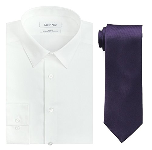 Calvin Klein Men's Slim Fit Herringbone Dress Shirt and Silver Spun Tie Combo, White/Plum, 15