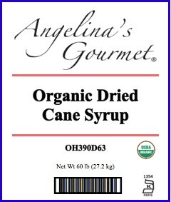 Organic Dried Cane Syrup, 60 Lb Bag by Angelina's Gourmet