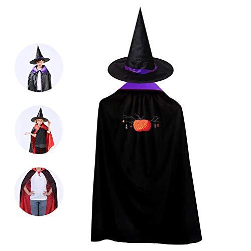 69PF-1 Halloween Cape Matching Witch Hat Fire Pumpkin Wizard Cloak Masquerade Cosplay Custume Robe Kids/Boy/Girl Gift -