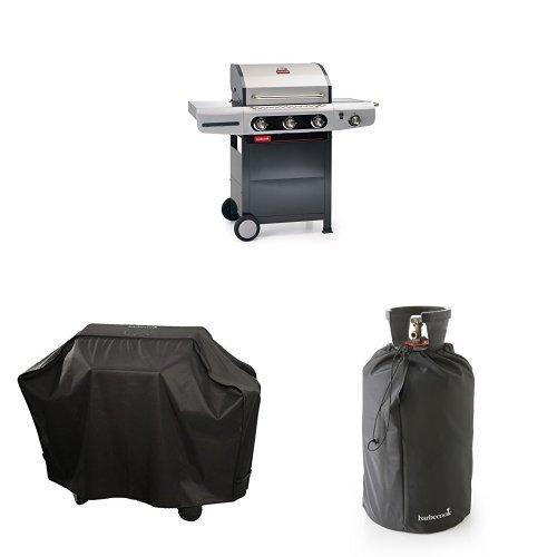 barbecook Gasgrill, Siesta 310, schwarz / grau, 80 x 76 x 52,6 cm, 2239231200 + Abdeckhaube + Gasflaschenhaube 11Kg