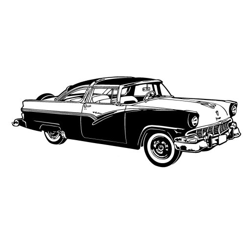 "Clear stamp (2"" x 4"") FLONZ clingy acrylic stamp // Classic Car America Fifties 1"