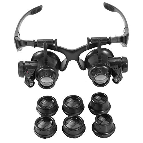 Duevin New Head Mount Magnifier with Light, 10x 15x 20x 25x LED Illuminated Double Eye Jeweler Watch Repair Magnifying Glasses Loupe Headband Magnifier from Duevin