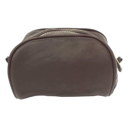 Piel Leather Cosmetic Bag, Chocolate, One Size