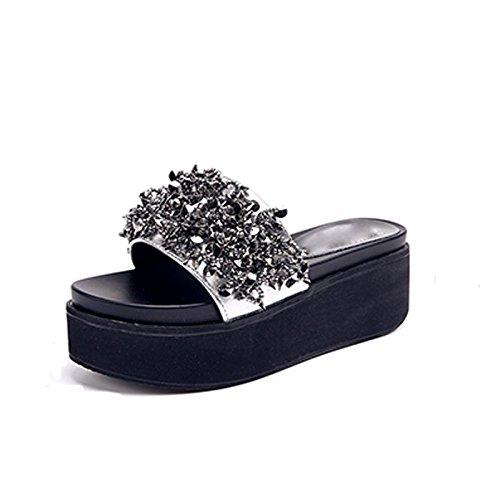 Ajunr Moda/elegante/Transpirable/Sandalias Muffin Suela gruesa Zapatillas La Diamond 6cm de cuñas Un arrastre Silver Beach ,38 39