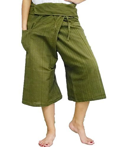 Thai Fisherman Pants Yoga Trousers Free Size 3/4 Cotton Stripe-Olive - Jacket Straight Blue Oakley