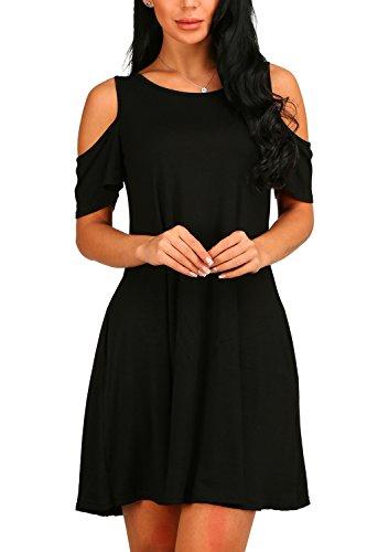 La Mujer Es Elegante Hombro Frio Swing Tunic Vestido Con Bolsillos Black