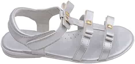 dc185dfe19c8 L Amour Toddler Girls Silver Studded Bow Straps Velcro Sandals 7-10 Toddler
