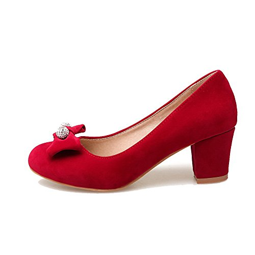 AmoonyFashion Womens Frosted Round-Toe Kitten-Heels Solid Pumps-Shoes Red XfopBRBN