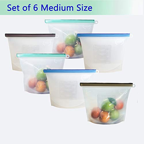 - Reusable Silicone Food Storage Bags, Airtight Zip Seal Preservation Containers for Vegetable, Liquid, Fruit, Meat, Lunch, Snack. Utensils for Cooking, Coolers, Fridge, FDA Grade (6, 6-Medium)