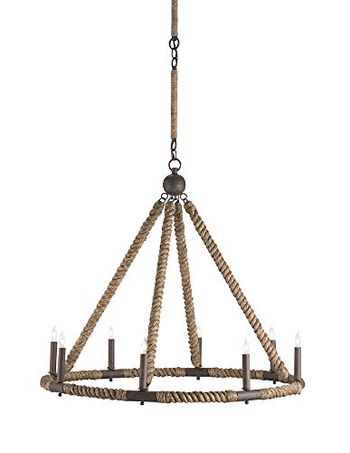Currey and Company 9536 Bowline - Eight Light Chandelier, Natural/Rust Finish (Finish Natural Abaca)