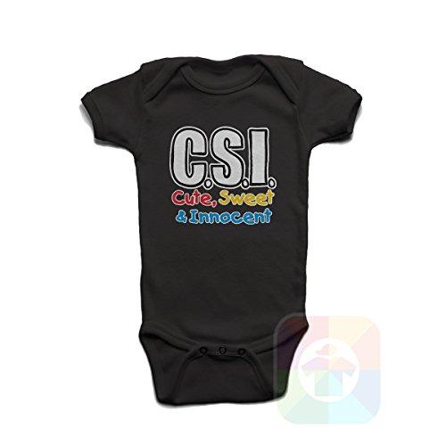 Csi Cute Sweet Innocent Baby Boys Girls Onesie Black (Csi Jumpsuit)