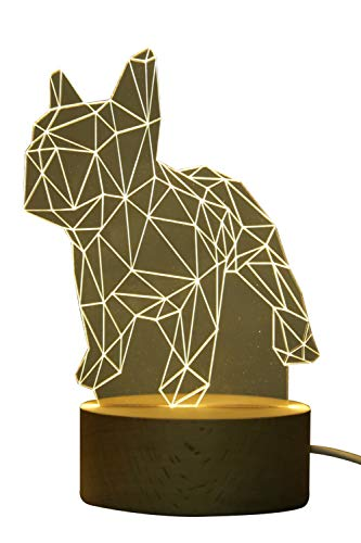 Innerest 3D Cat Dog Bear Night Light Table Lamp Home Décor Animal Sculpture Hardwood Kids Bed Lighting (Warm- Hardwood, One Size- French Bulldog 1) by Innerest