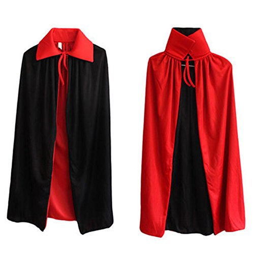 HIDOUYAL - Poncho - Uni - Col Rond - Femme noir Schwarz+Rot Large