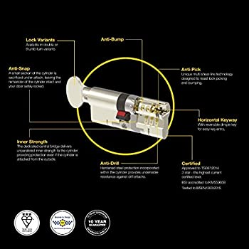 ASEC 6 broches euro cylindre laiton poli 90mm 40//50 lock PVC Porte Yale Style