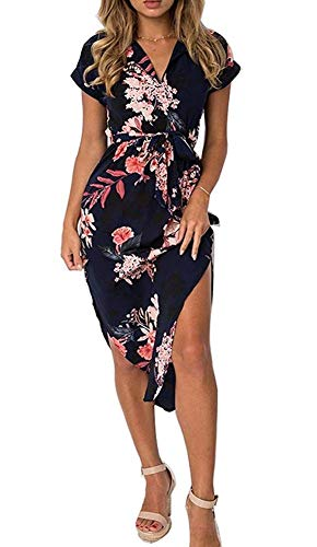 OopStyle Geometric Palazzo Women Black Boho Floral Midi Shirt Dress with Sleeve