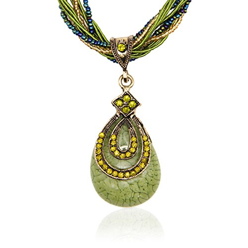 LNKRE JEWELRY Fashion Women's Bohemia Vintage National Style Cat's Eye Stone Peacock Chain Necklace Pendant(Green)