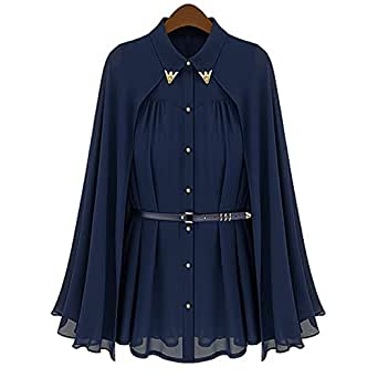 ROSENICE Fashion Spring Summer Turn-Down Collar Sleeveless Women's Loose Cape Style Chiffon Blouse Shirt - Size L (Navy Blue)