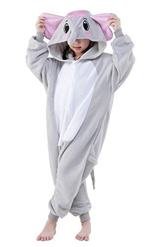 Halloween Child Pajamas Animal Cosplay Costume Anime Makeup Partywear Jumpsuit Outfit-Grey (Halloween Elephant Makeup)