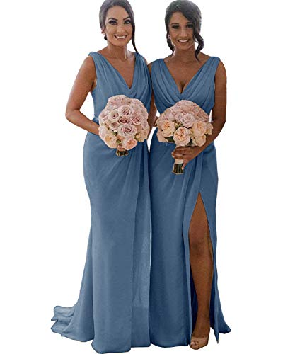 (Women's V-Neck Ruched Bodice Split Chiffon Long Bridesmaid Dress Evening Formal Gown Dusty Blue US2)