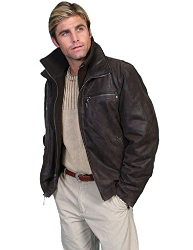 Scully Men's Zip-Out Front And Collar Lambskin Jacket Brown XX-Large Scully Zip