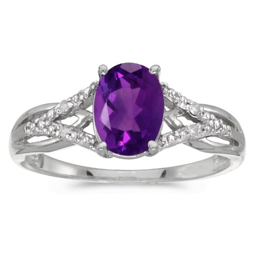 (Jewels By Lux 10k White Gold Genuine Purple Birthstone Solitaire Oval Amethyst And Diamond Wedding Engagement Ring - Size 6.5 (1 Cttw.))