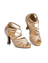 QWERTYUIOP [Women's] Latin Dance Shoes,High Heels Dancing Shoes [Soft Bottom] Ballroom Ballroom Bottom] Dance Shoes-B Foot Length... B07HCMR9R7 Parent 6b2535