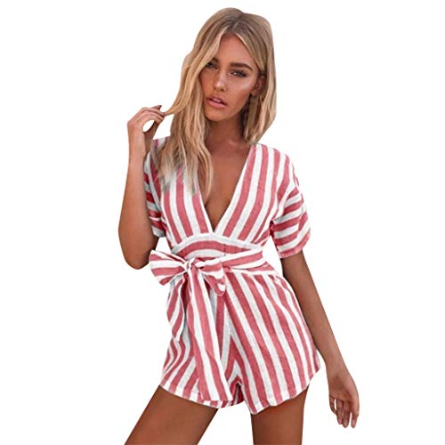 (Jumpsuits for Women Sexy Dainzuy 2019 Striped Short Sleeve V-Neck Waist Belted Wide Leg Loose Short Jumpsuit Romper Red)