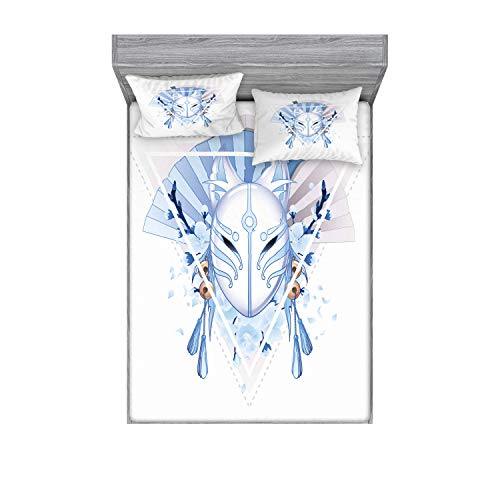 Ambesonne Kabuki Mask Fitted Sheet & Pillow Sham Set, Fox Form Kitsune Japan Culture Theme Triangle Sakura Flowers, Decorative Printed 3 Piece Bedding Decor Set, Queen, Pale Blue White Beige