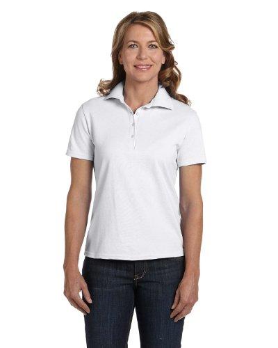 Adult Fashion Polo (Hanes 035X Women's ComfortSoft Pique Knit Sport Shirt White Medium)