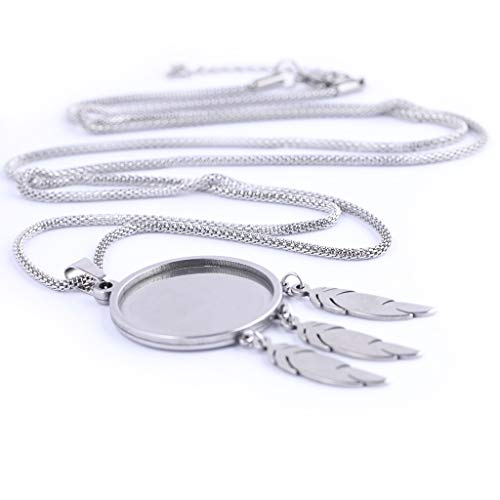 5pcs Stainless Steel Fit 25mm Cabochon Pendant Base Setting Tray Blanks with Feather Charms DIY Necklace Bezels for Jewelry Making
