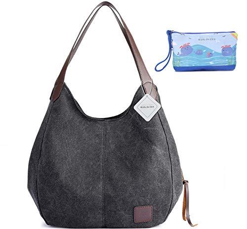WORLDLYDA Women Canvas Hobo Purse Multi Pocket Tote Shopper Shoulder Bag Casual Top Handle Handbag ()
