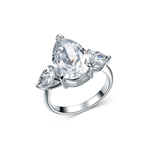 Bella Lotus 4 Carat Pear Shaped 18k White Gold Plated Wedding Engagement (Pear Cut Cubic Zirconia Solitaire)