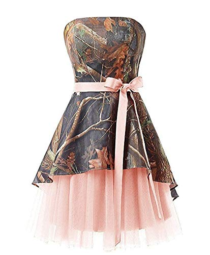 Ci-ONE Short Homecoming Dress Camo Wedding Dress Tulle Prom Dress Pink, 2