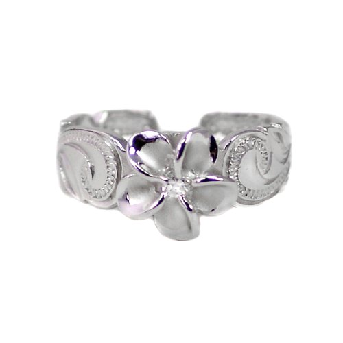 Hawaiian Sterling Silver Plumeria Toe Ring with Synthetic Cz Crystal