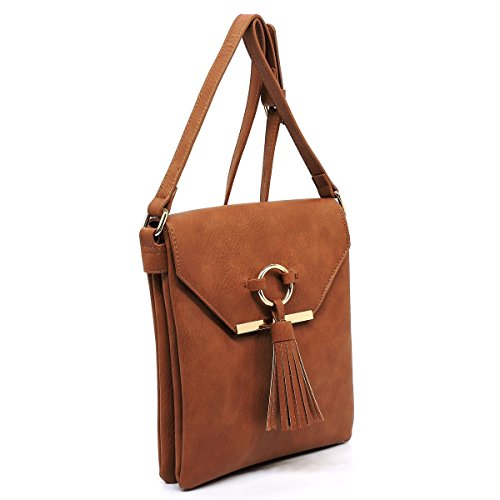 detail flap and tassels crossbody zipper with top closure bag Brown Three large compartments Uq1fqxg