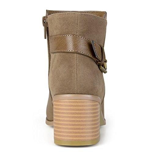 Journee Collection Womens Buckle High Heel Booties Taupe VNJ2XY