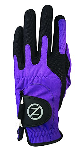 Zero Friction Male Mens Compression-Fit Synthetic Golf Gloves, Purple, One Size