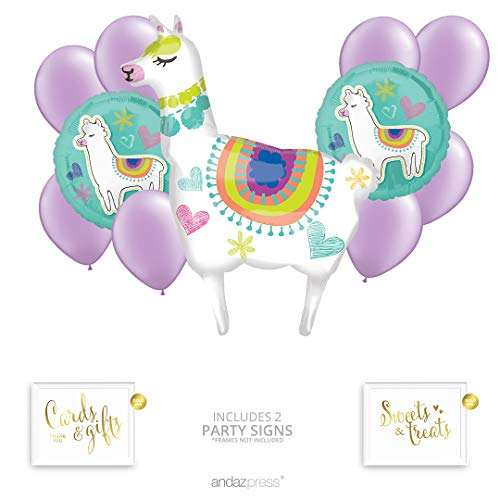 Andaz Press Llama Balloon Bouquet Party Decoration Kit, Birthday Party Supplies, Inflatable Foil Mylar and Latex Balloons, Llama Party Supplies, Llama Birthday and Baby Shower Theme Party -
