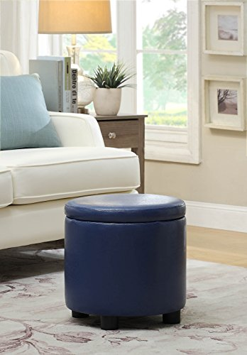 (Convenience Concepts Designs4Comfort Round Accent Storage Ottoman, Blue)