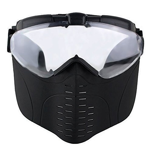 PG1ARCHERY Airsoft Mask, Full Face Protection Mask with Anti-Fog Glass Protective Gear for Archery Hunting CS Game Outdoor Sports Black